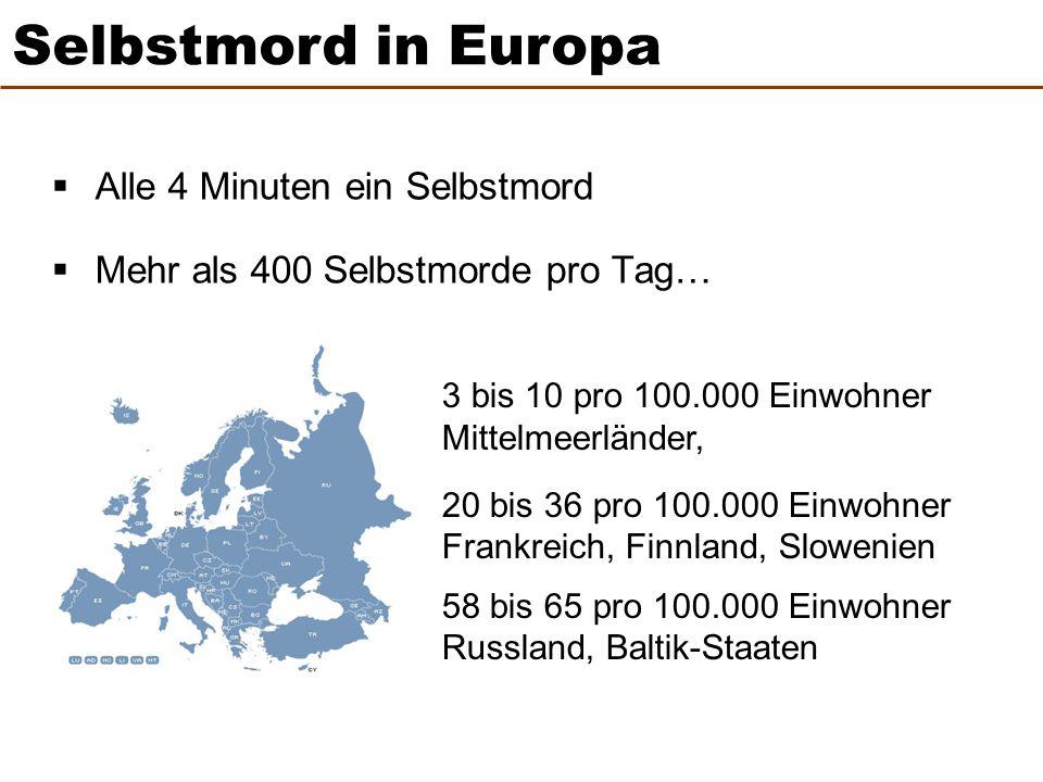 Selbstmord in Europa Alle 4 Minuten ein Selbstmord