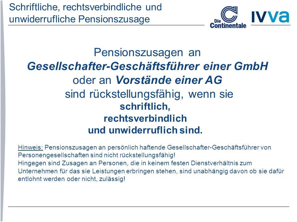 Schriftliche, rechtsverbindliche und unwiderrufliche Pensionszusage
