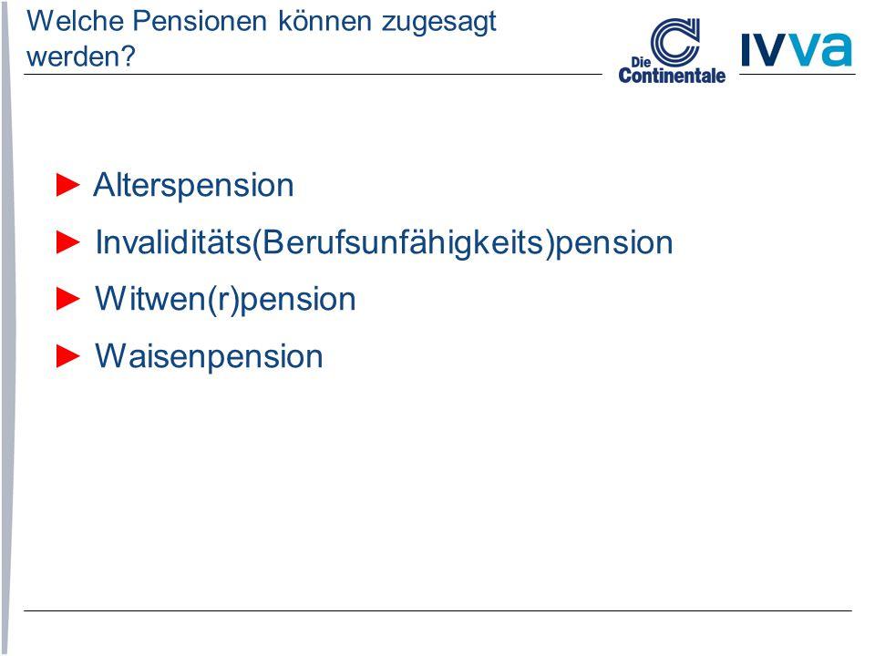 Welche Pensionen können zugesagt werden