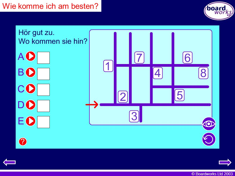 Wie komme ich am besten Listen to the directions and write the number of each destination. Click.