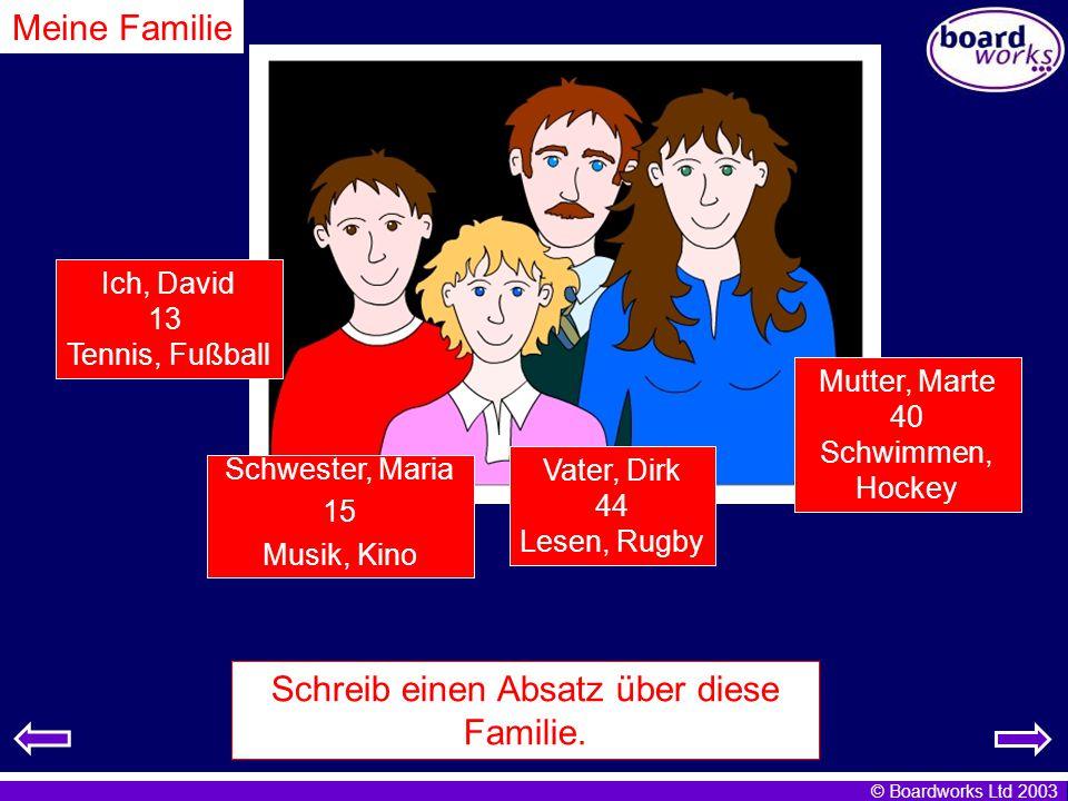 Schreib einen Absatz über diese Familie.