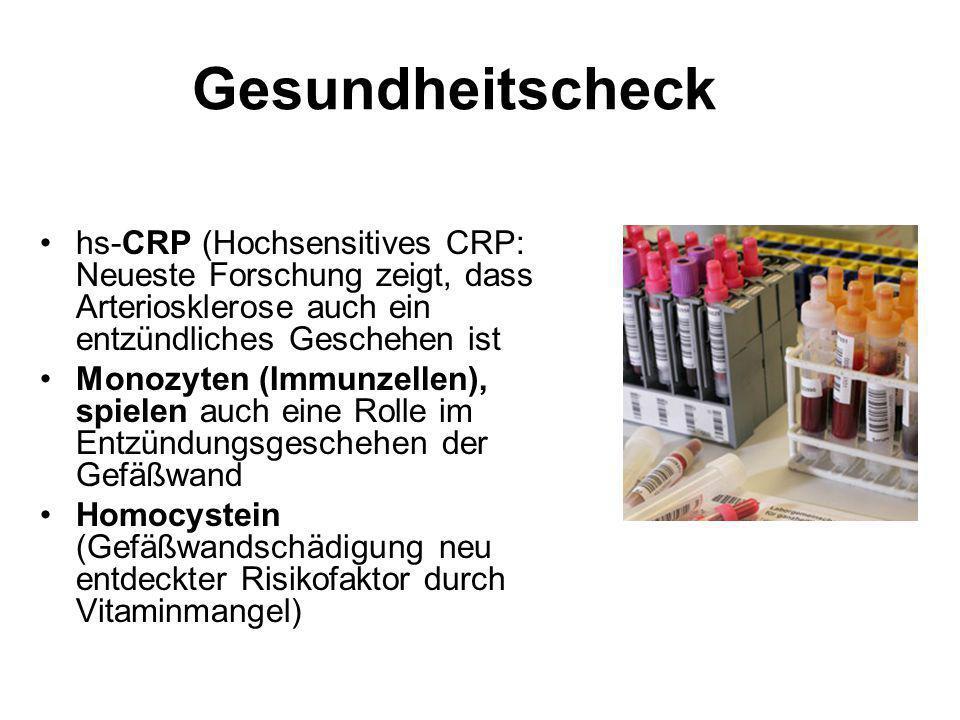 Gesundheitscheck hs-CRP (Hochsensitives CRP: Neueste Forschung zeigt, dass Arteriosklerose auch ein entzündliches Geschehen ist.