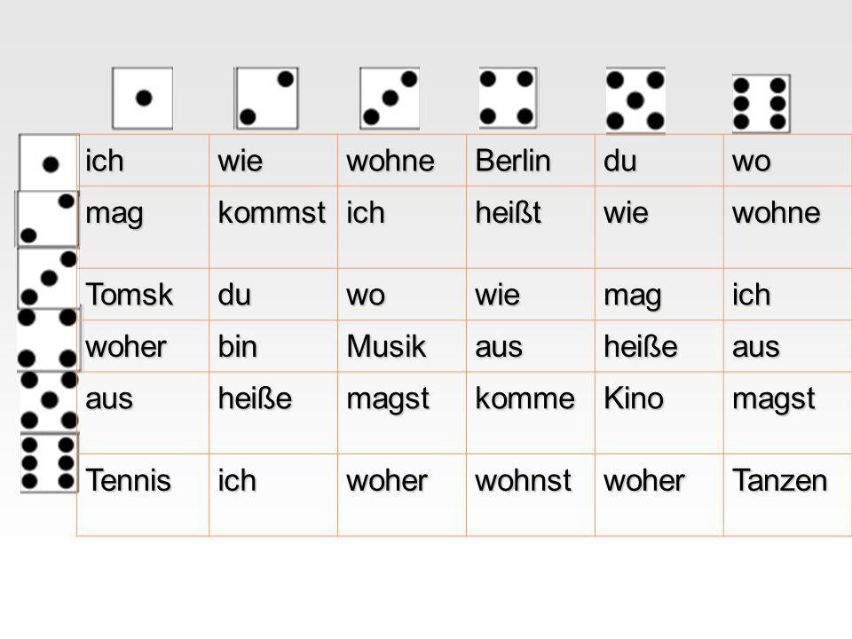 ich wie. wohne. Berlin. du. wo. mag. kommst. heißt. Tomsk. woher. bin. Musik. aus. heiße.