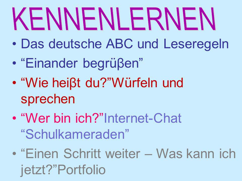 Das deutsche ABC und Leseregeln Einander begrüβen