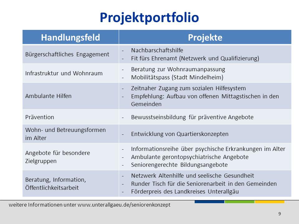 Projektportfolio Handlungsfeld Projekte Bürgerschaftliches Engagement