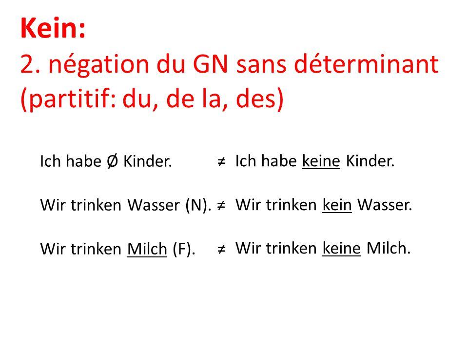 Kein: 2. négation du GN sans déterminant (partitif: du, de la, des)