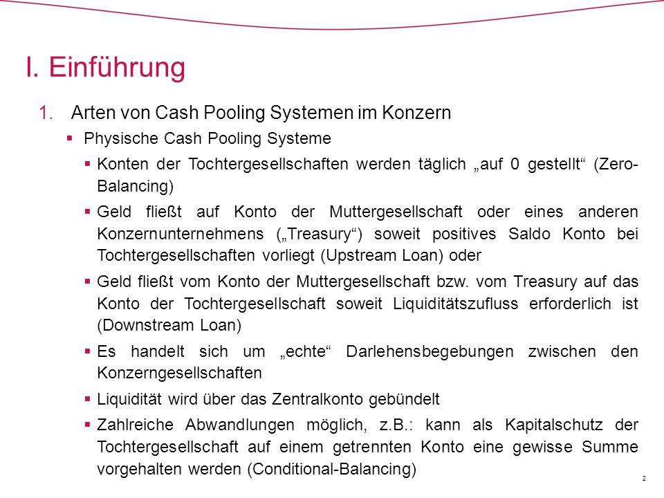I. Einführung Arten von Cash Pooling Systemen im Konzern