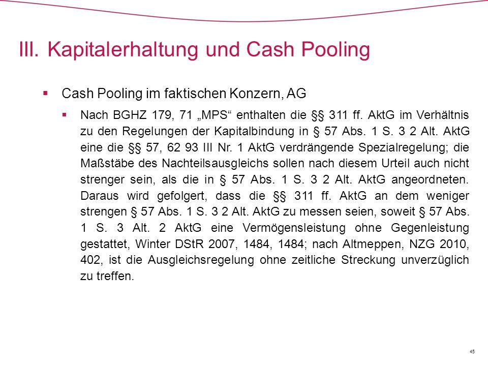III. Kapitalerhaltung und Cash Pooling