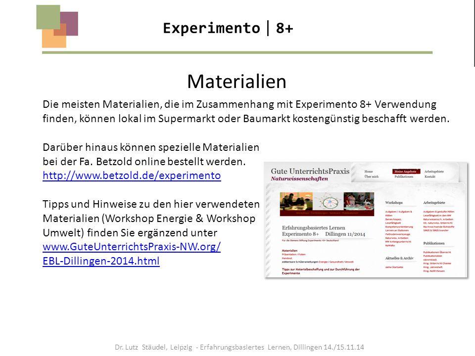 Materialien Experimento8+