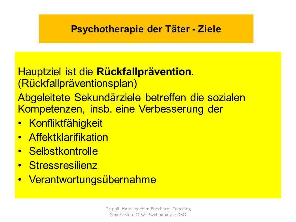 Psychotherapie der Täter - Ziele