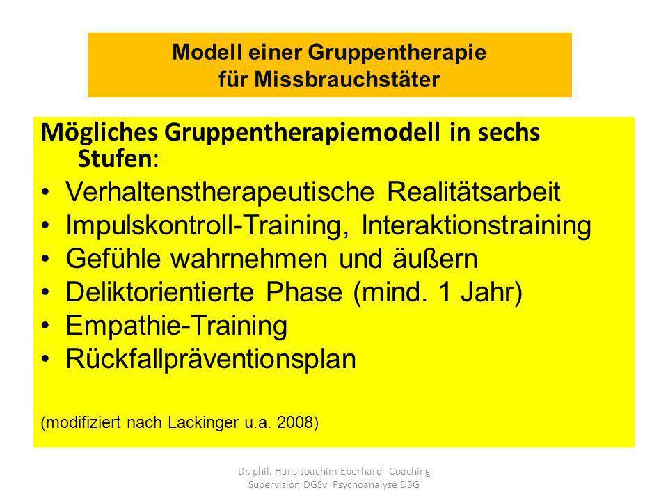 Modell einer Gruppentherapie für Missbrauchstäter