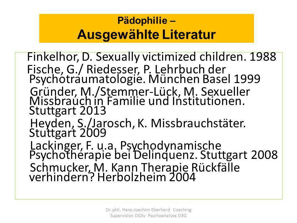 Pädophilie – Ausgewählte Literatur