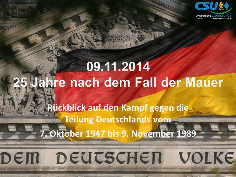 09.11.2014 25 Jahre nach dem Fall der Mauer
