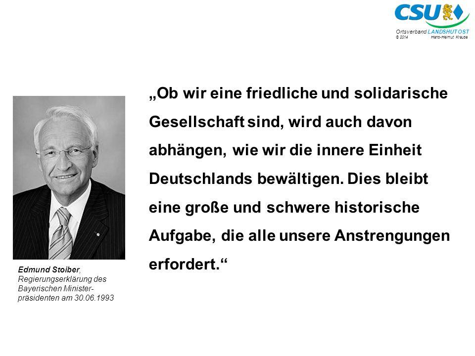 """""""Ob wir eine friedliche und solidarische Gesellschaft sind, wird auch davon abhängen, wie wir die innere Einheit Deutschlands bewältigen. Dies bleibt eine große und schwere historische Aufgabe, die alle unsere Anstrengungen erfordert."""