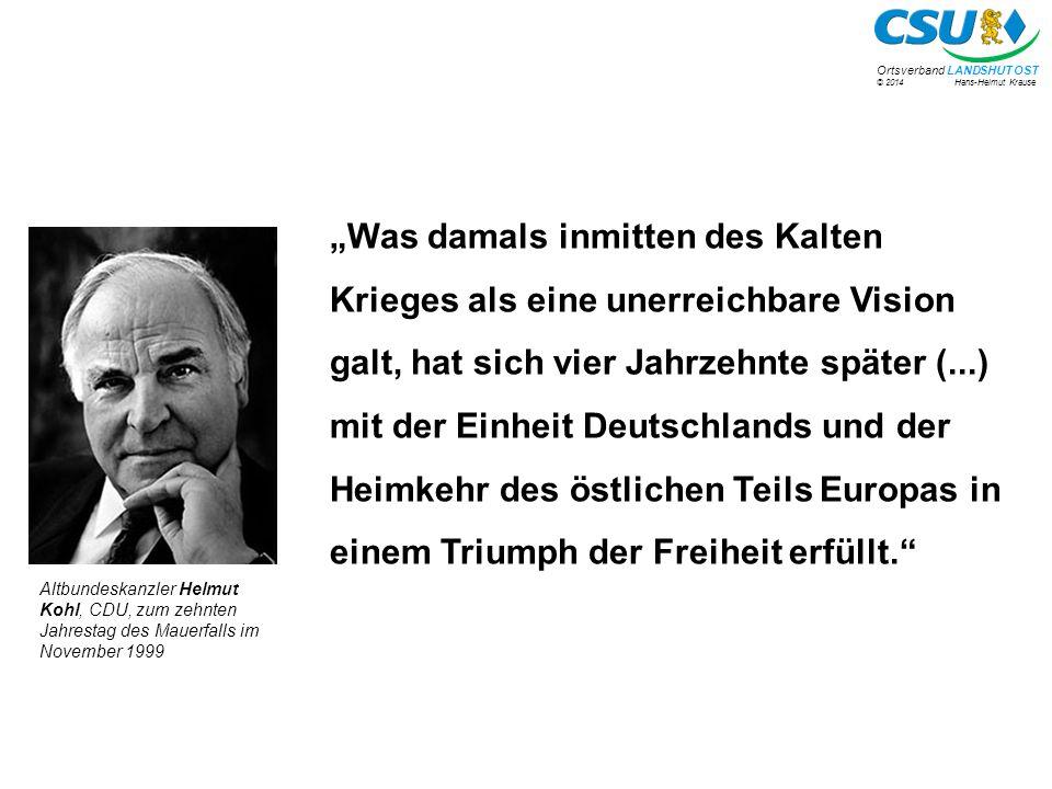 """""""Was damals inmitten des Kalten Krieges als eine unerreichbare Vision galt, hat sich vier Jahrzehnte später (...) mit der Einheit Deutschlands und der Heimkehr des östlichen Teils Europas in einem Triumph der Freiheit erfüllt."""
