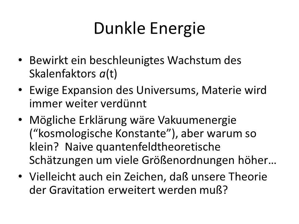 Dunkle Energie Bewirkt ein beschleunigtes Wachstum des Skalenfaktors a(t) Ewige Expansion des Universums, Materie wird immer weiter verdünnt.