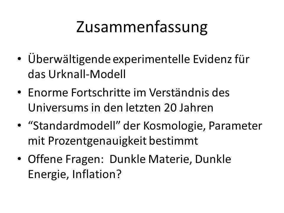 Zusammenfassung Überwältigende experimentelle Evidenz für das Urknall-Modell.