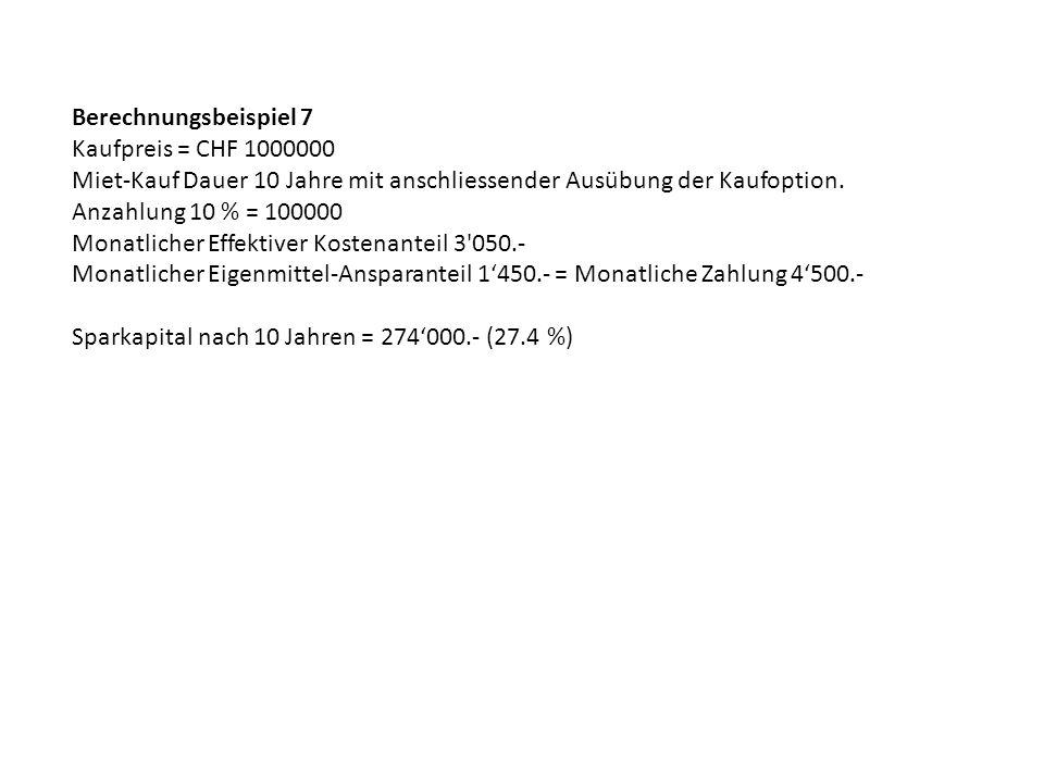 Berechnungsbeispiel 7 Kaufpreis = CHF 1000000. Miet-Kauf Dauer 10 Jahre mit anschliessender Ausübung der Kaufoption.