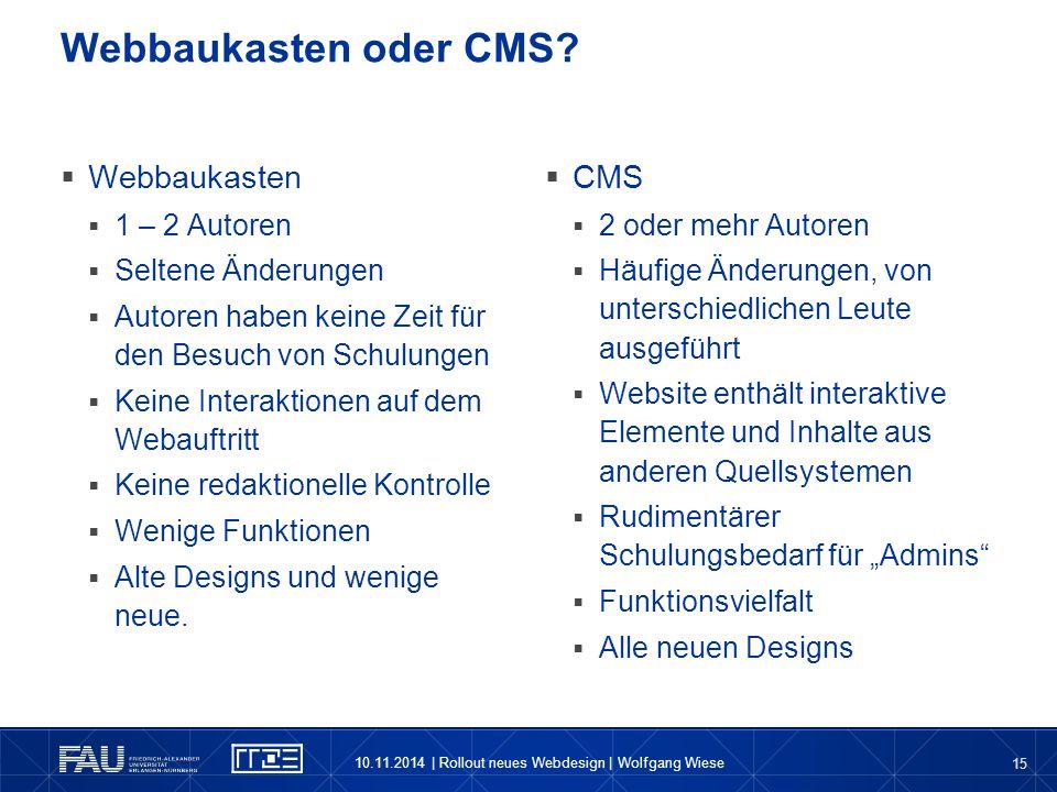 Webbaukasten oder CMS Webbaukasten CMS 1 – 2 Autoren