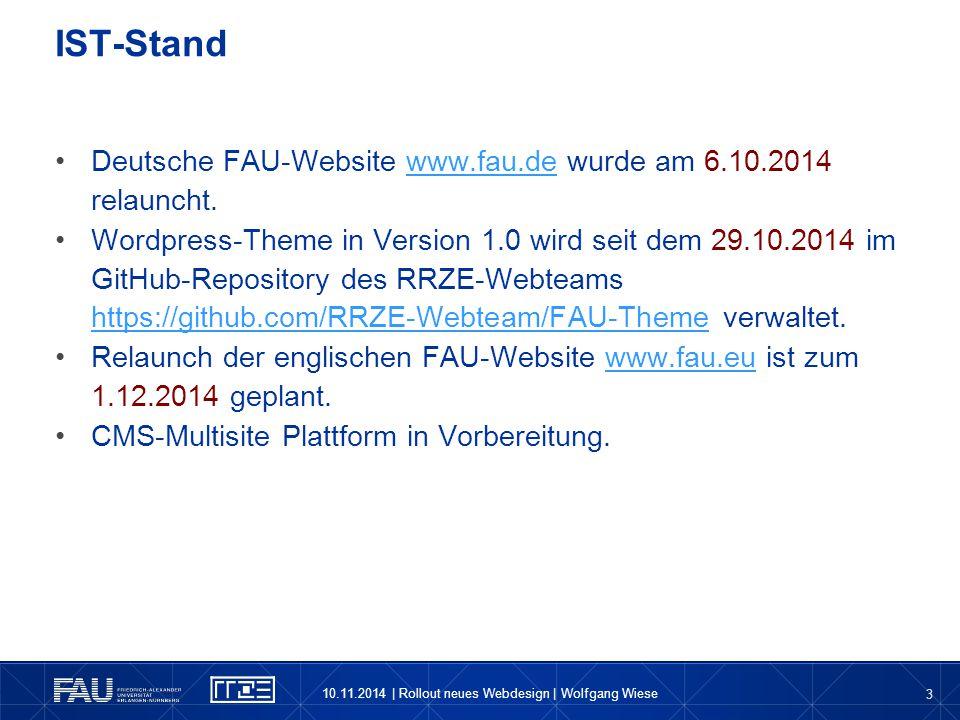 IST-Stand Deutsche FAU-Website www.fau.de wurde am 6.10.2014 relauncht.