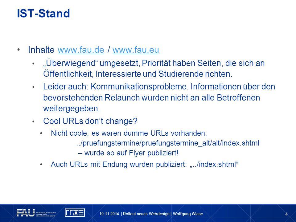 IST-Stand Inhalte www.fau.de / www.fau.eu