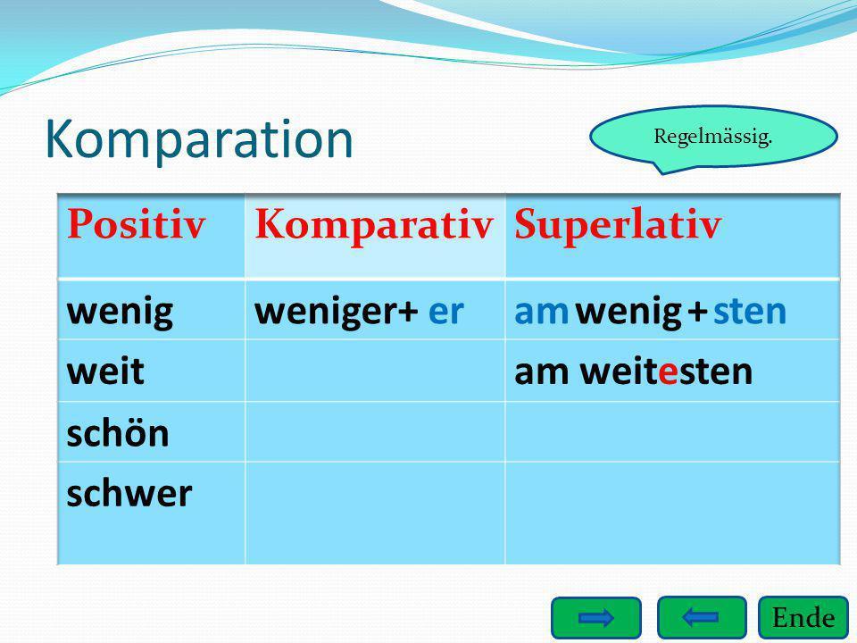 Komparation Positiv Komparativ Superlativ wenig weniger+ er