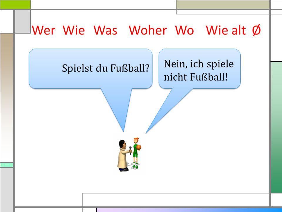 Wer Wie Was Woher Wo Wie alt Ø Nein, ich spiele nicht Fußball!
