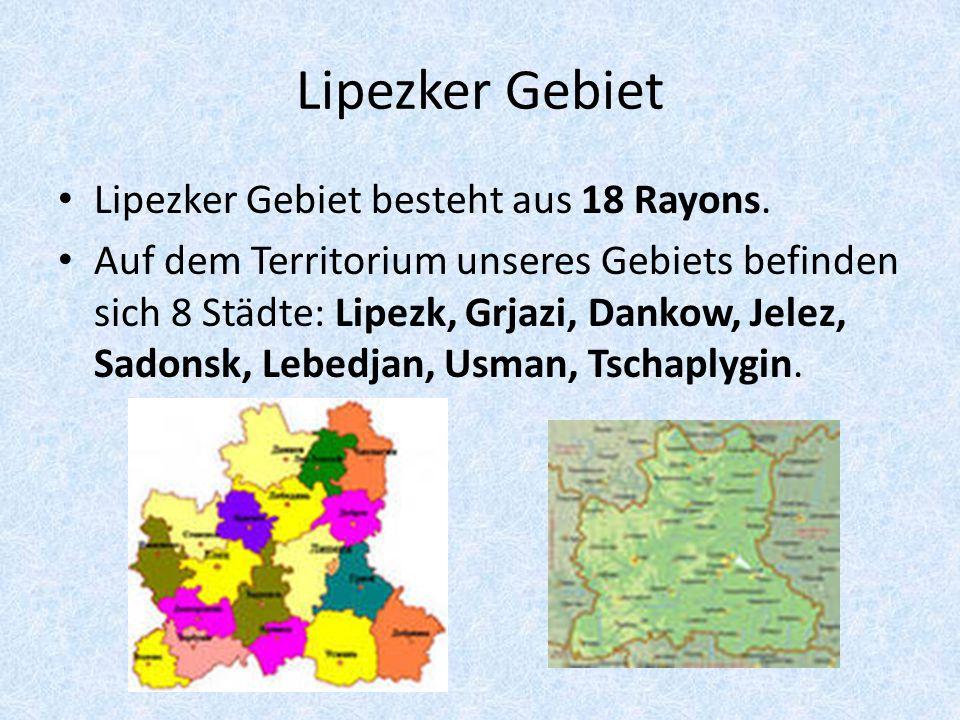 Lipezker Gebiet Lipezker Gebiet besteht aus 18 Rayons.