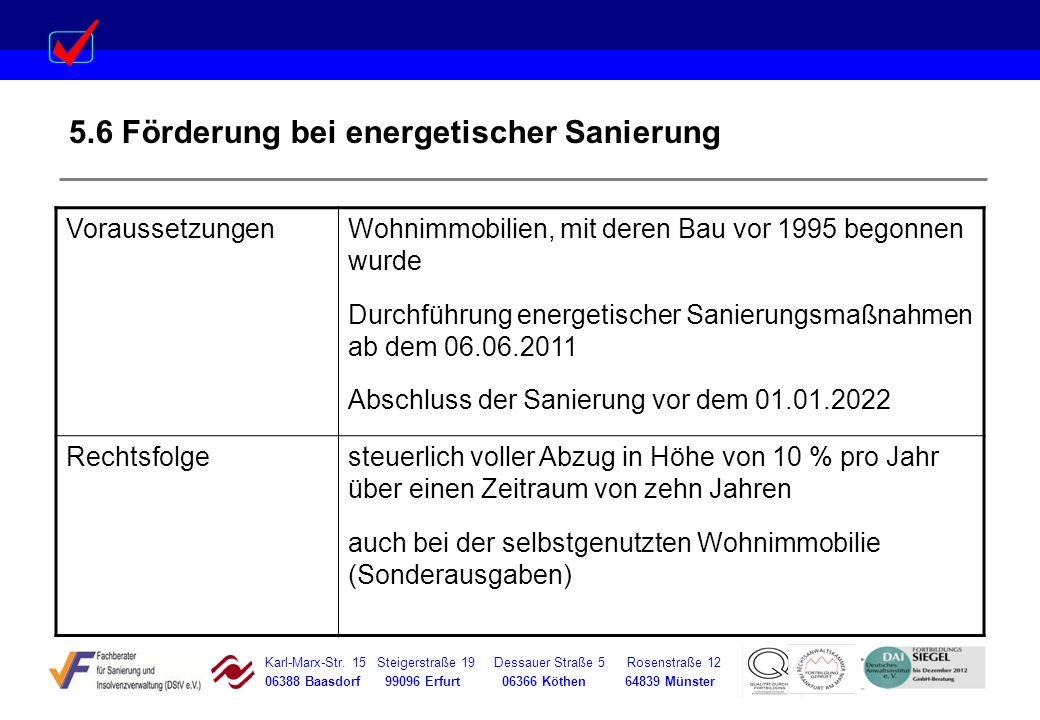 5.6 Förderung bei energetischer Sanierung