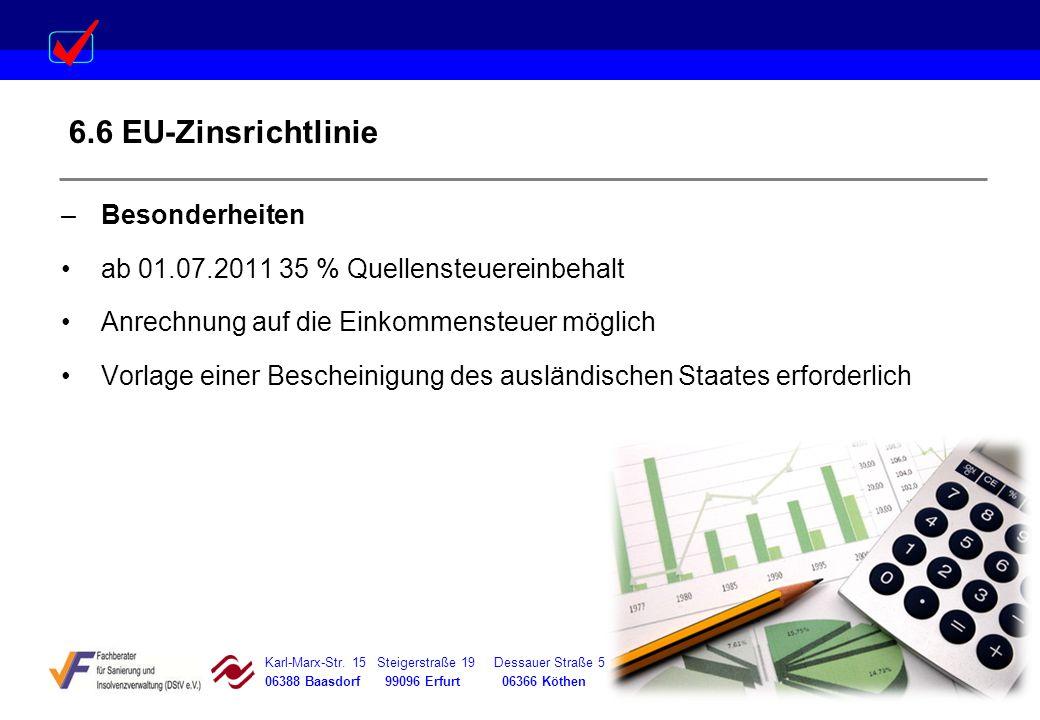 6.6 EU-Zinsrichtlinie Besonderheiten