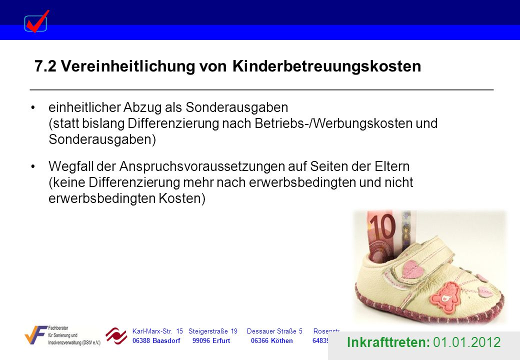 7.2 Vereinheitlichung von Kinderbetreuungskosten