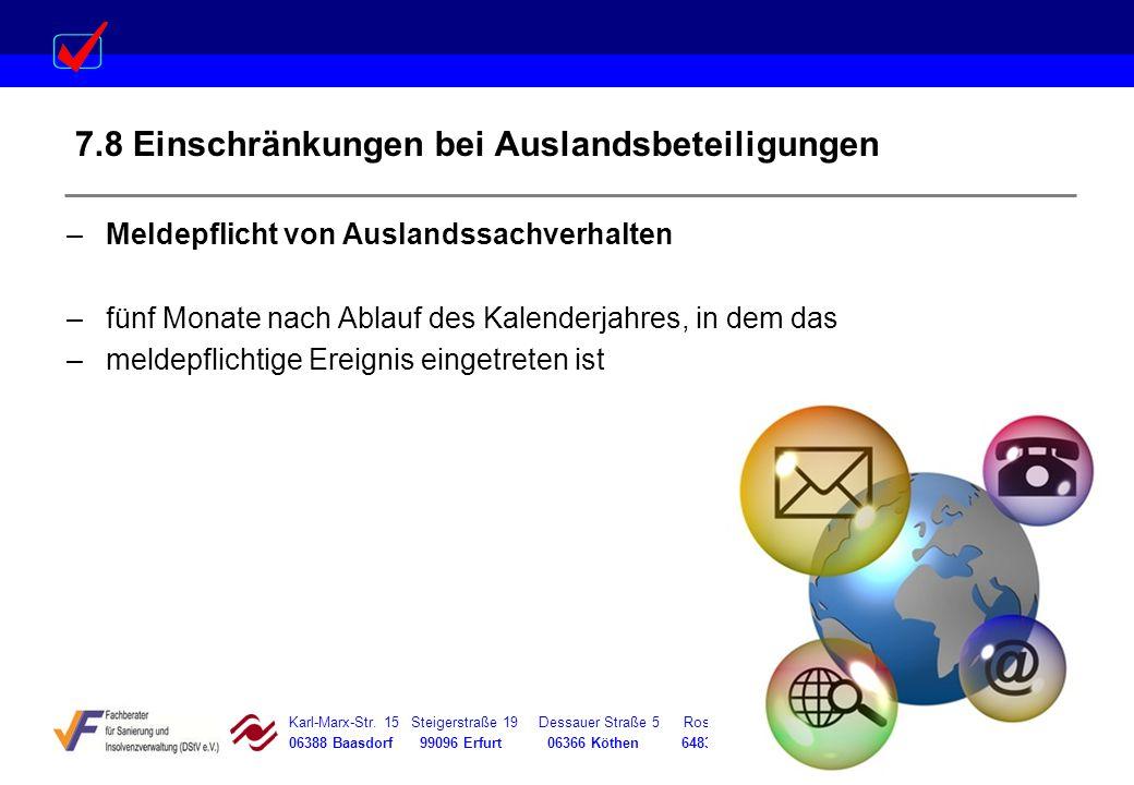 7.8 Einschränkungen bei Auslandsbeteiligungen