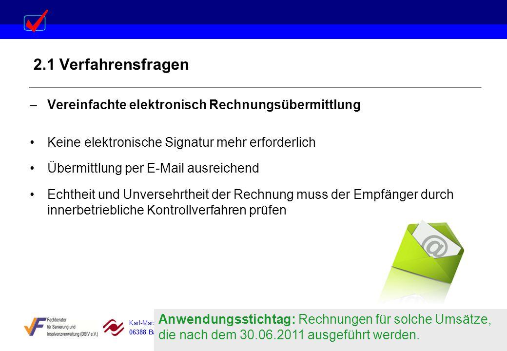 2.1 Verfahrensfragen Vereinfachte elektronisch Rechnungsübermittlung
