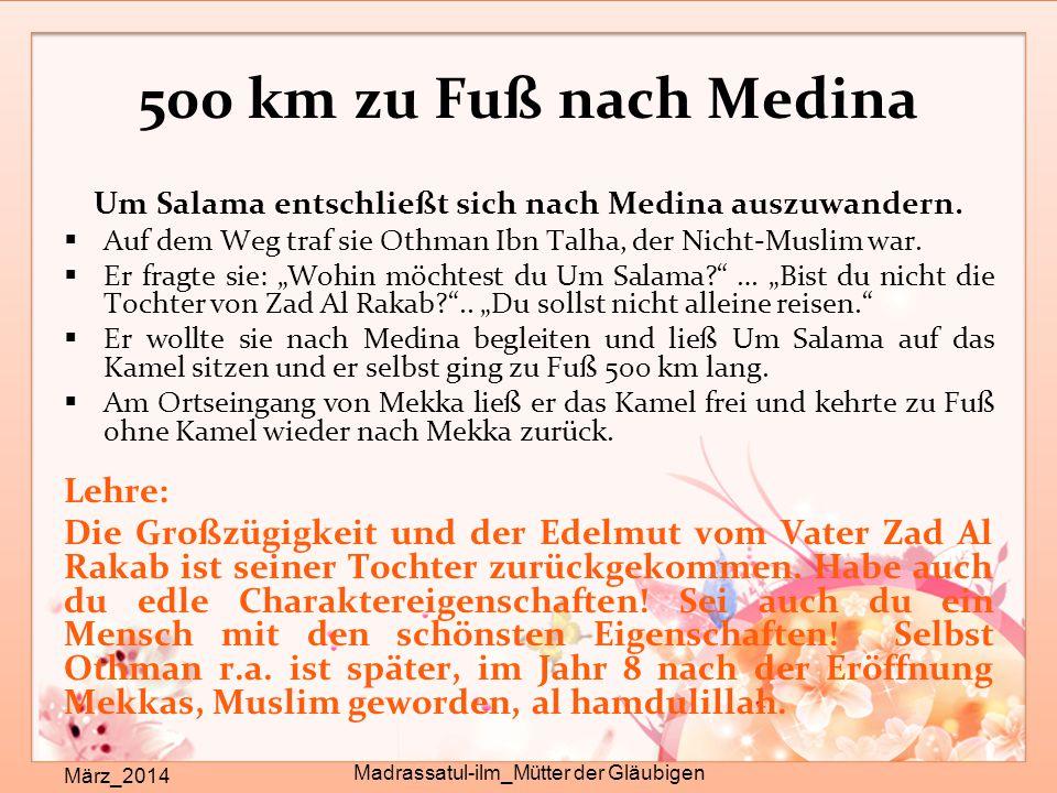 Um Salama entschließt sich nach Medina auszuwandern.