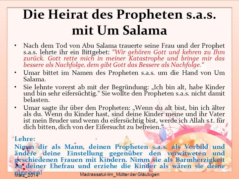 Die Heirat des Propheten s.a.s. mit Um Salama