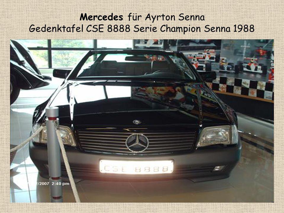 Mercedes für Ayrton Senna Gedenktafel CSE 8888 Serie Champion Senna 1988
