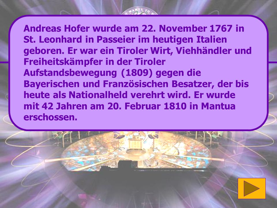 Andreas Hofer wurde am 22. November 1767 in St