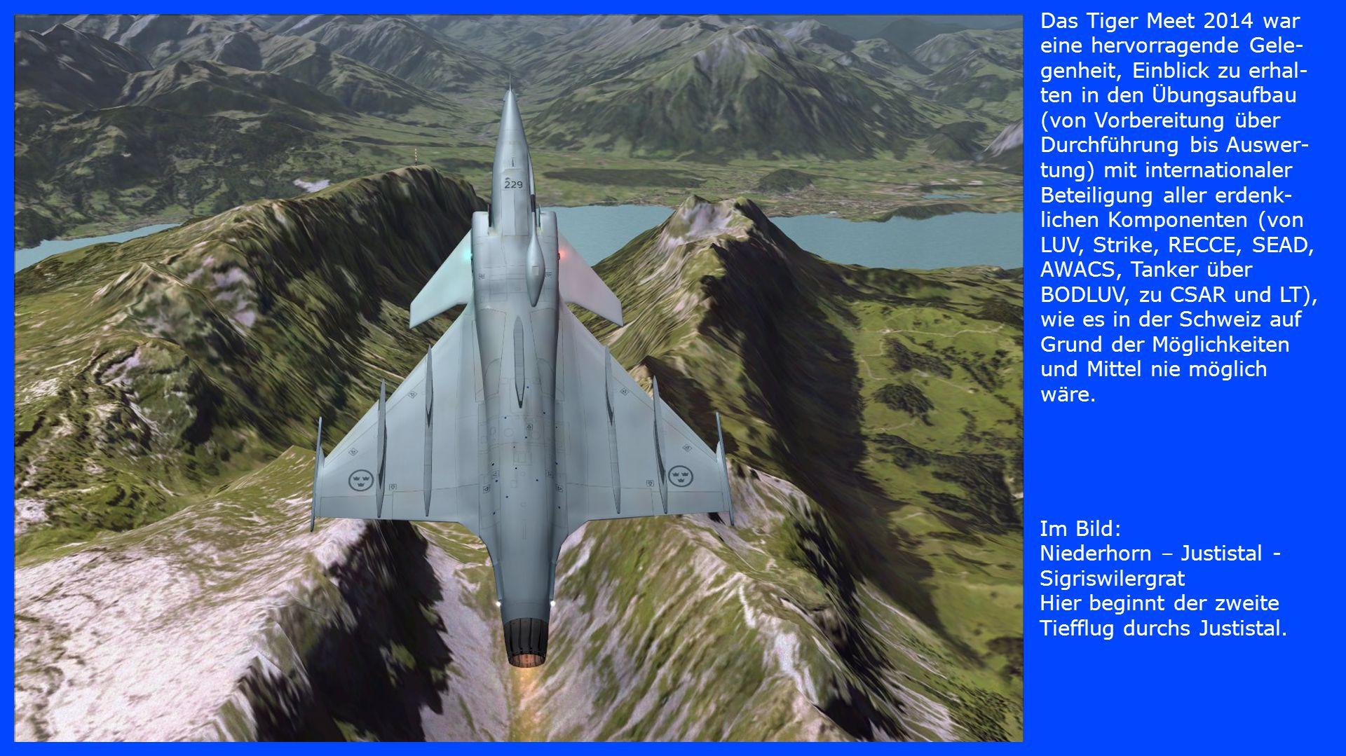 Das Tiger Meet 2014 war eine hervorragende Gele-genheit, Einblick zu erhal-ten in den Übungsaufbau (von Vorbereitung über Durchführung bis Auswer-tung) mit internationaler Beteiligung aller erdenk-lichen Komponenten (von LUV, Strike, RECCE, SEAD, AWACS, Tanker über BODLUV, zu CSAR und LT), wie es in der Schweiz auf Grund der Möglichkeiten und Mittel nie möglich wäre.