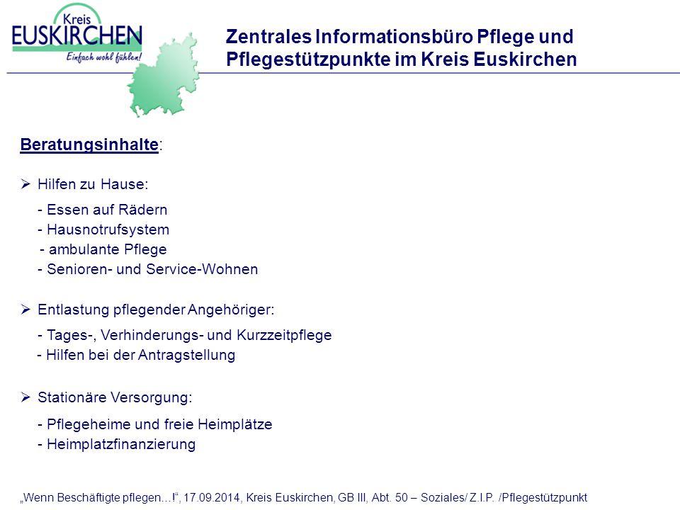 Zentrales Informationsbüro Pflege und Pflegestützpunkte im Kreis Euskirchen