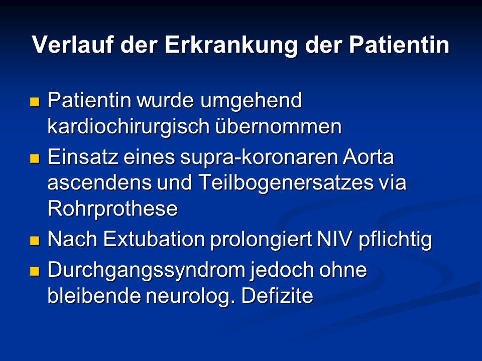 Verlauf der Erkrankung der Patientin