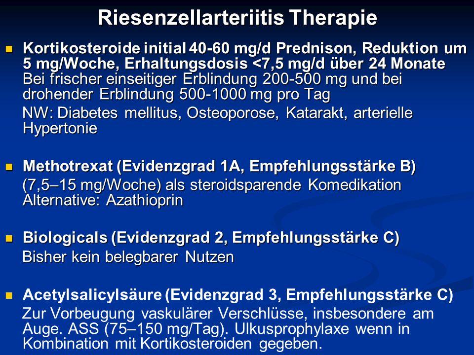 Riesenzellarteriitis Therapie