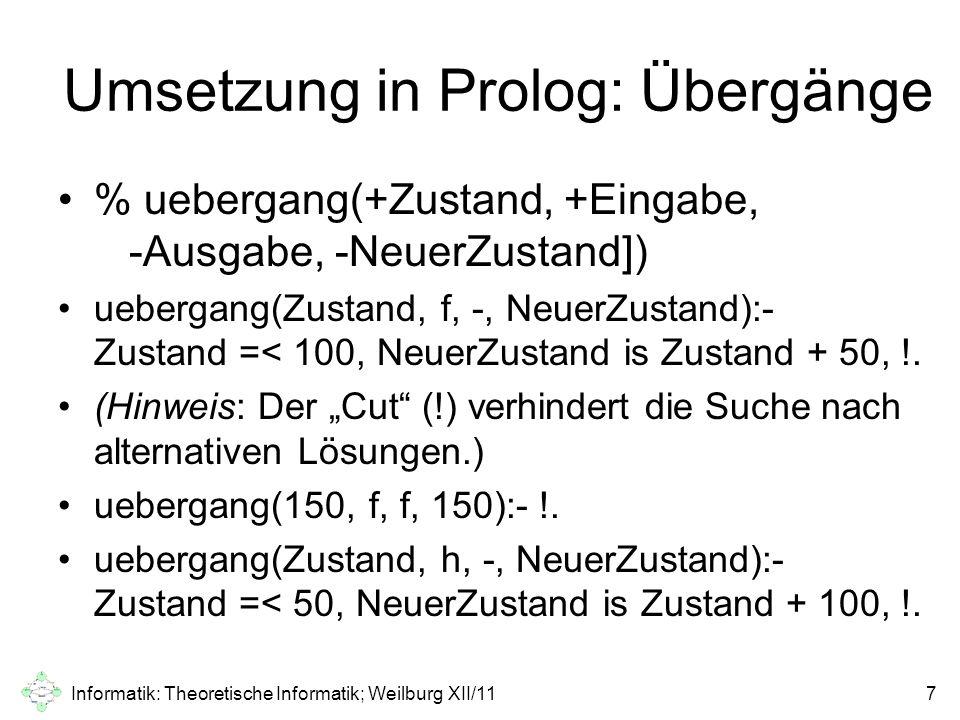 Umsetzung in Prolog: Übergänge