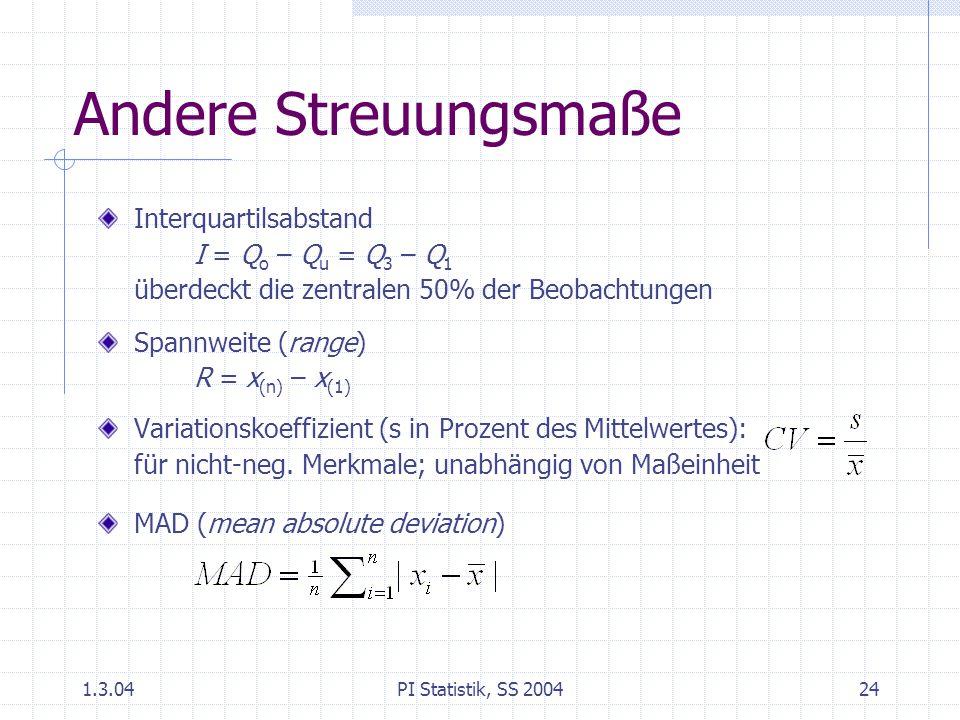 Andere Streuungsmaße Interquartilsabstand I = Qo – Qu = Q3 – Q1