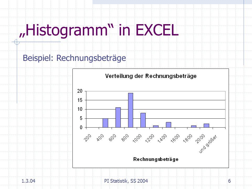"""""""Histogramm in EXCEL Beispiel: Rechnungsbeträge 1.3.04"""