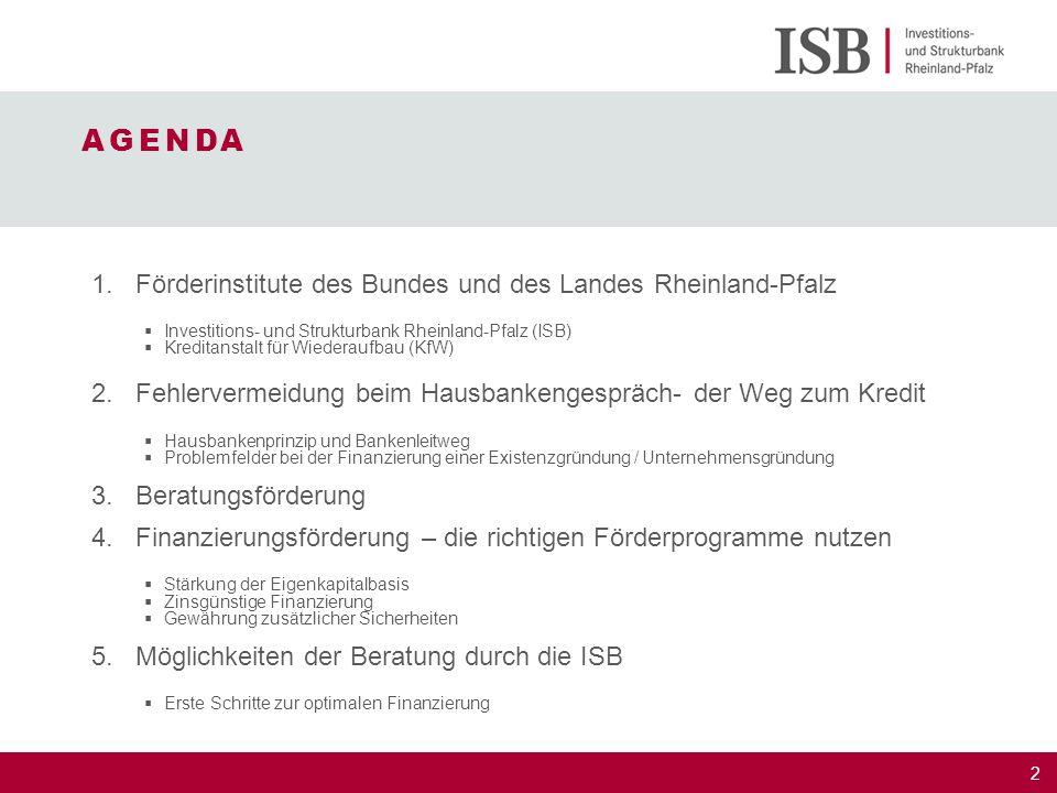 AGENDA Förderinstitute des Bundes und des Landes Rheinland-Pfalz