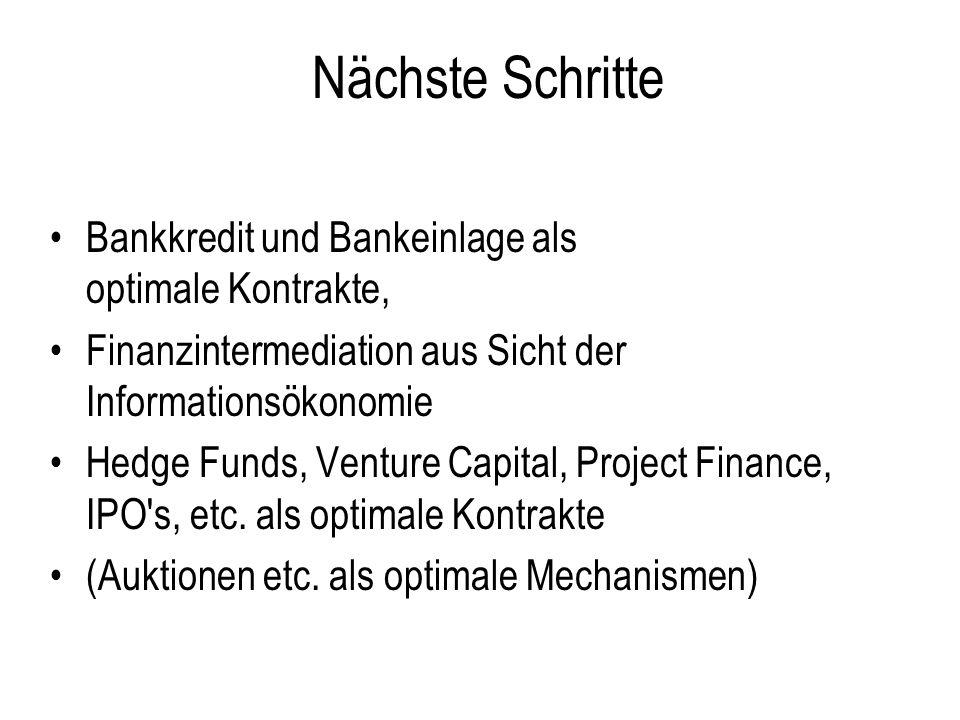 Nächste Schritte Bankkredit und Bankeinlage als optimale Kontrakte,