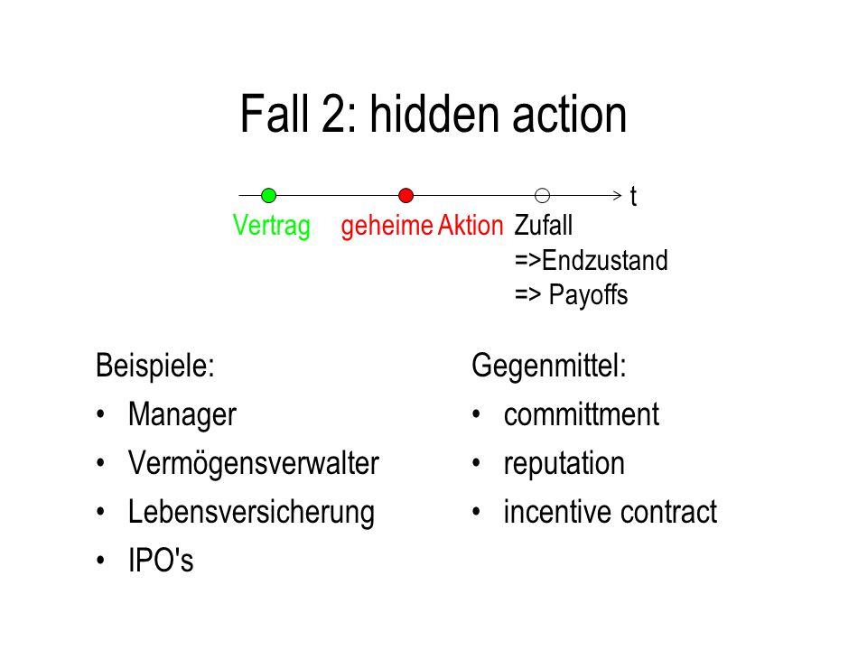 Fall 2: hidden action Beispiele: Manager Vermögensverwalter