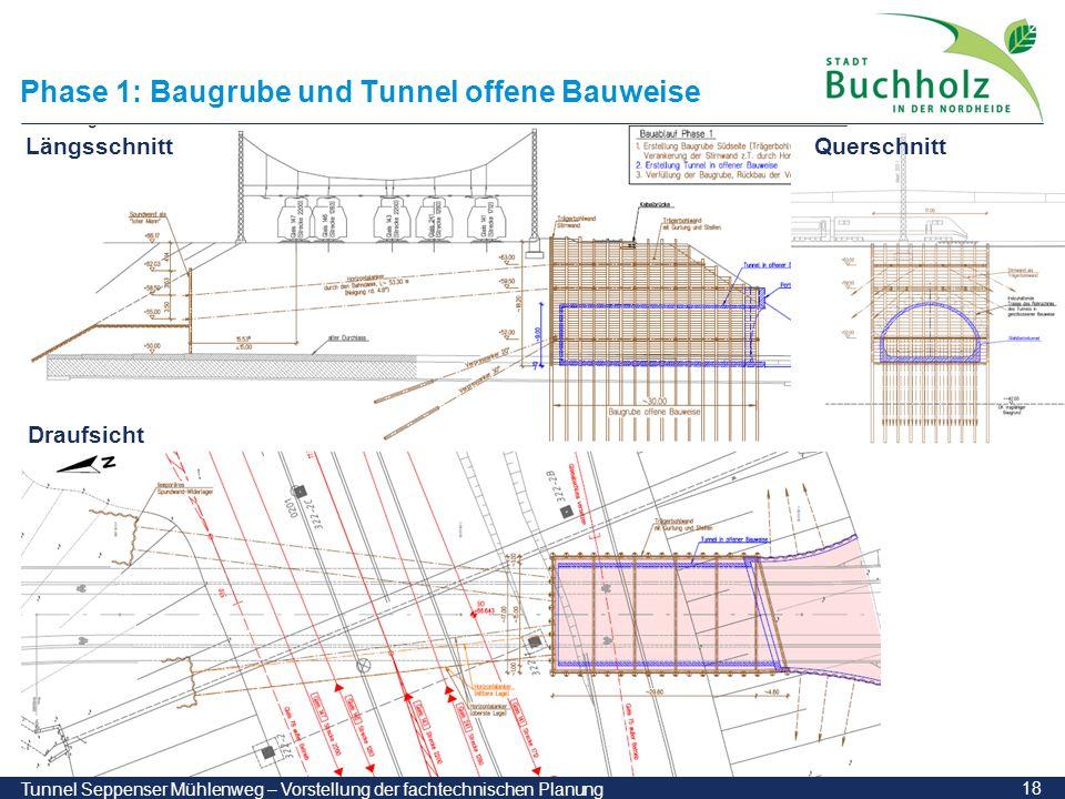 Phase 1: Baugrube und Tunnel offene Bauweise