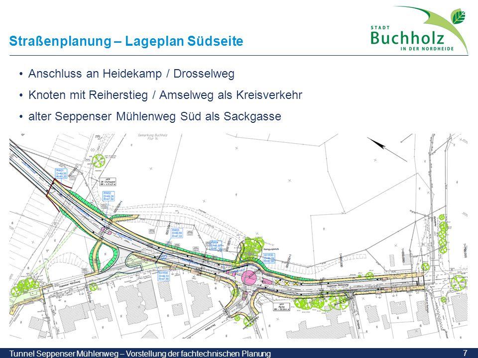 Straßenplanung – Lageplan Südseite