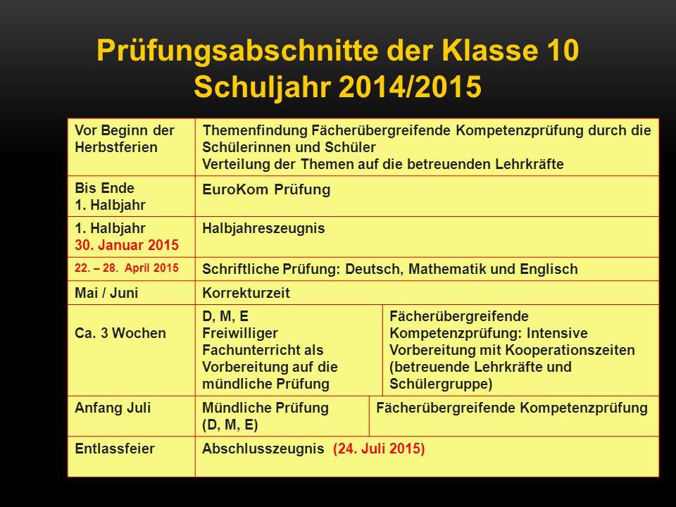 Prüfungsabschnitte der Klasse 10 Schuljahr 2014/2015